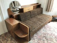 Beautiful 1930's sofa unit: sofa, display back with circular mirror and side cupboard