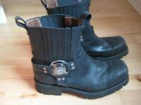Mens New Rock Black Motorcycle Ankle Boots