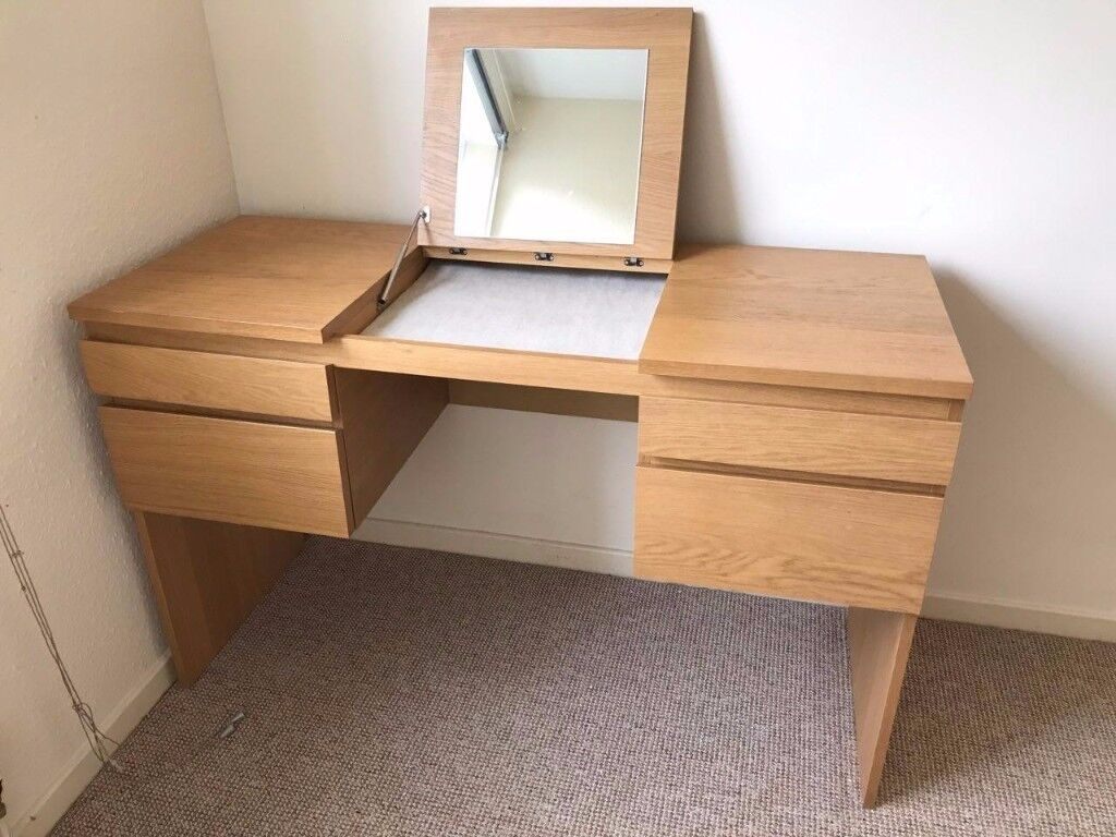 Ikea Oak Ransby Dressing Table Vanity With Built In Mirror