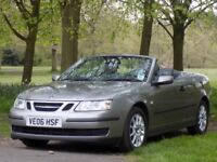 2006 (06) SAAB 9-3 CONVERTIBLE,LOW MILEAGE,82,000,FULL SERVICE HISTORY,LEATHER,EXCELLENT CONDITION