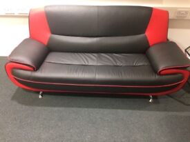 Black and red 3 seater sofa