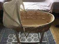 Clair de lune Moses basket With rocking stand £20 ono