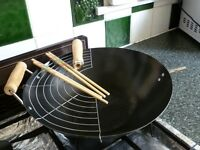 Wok pan with wooden handles and useful pan side-grill