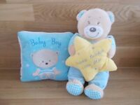BABY BOY GIFT SET.CUSHION AND TEDDY BEAR-NEW