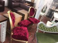 2 gold and red velvet chairs and matching Queen Anne stool