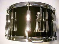 "Ludwig 484 Coliseum snare drum - 6-ply maple - 14 x 8"" - 12 lugs - Blue/Olive, Chicago - '80s"