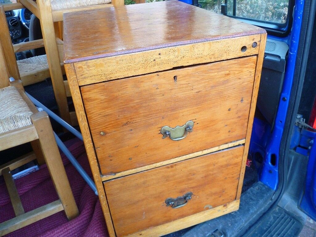Vintage Antique Wooden Filing Cabinet 2 Drawers