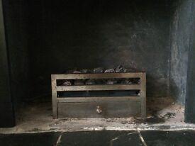 Steel coal basket with coals (gas)
