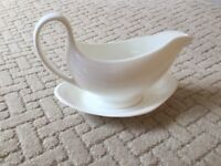 Wedgwood Classic Plain White Fine Bone China Gravy Baot and Saucer. First Quality, flawless conditn