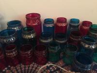 Handpainted glass jars