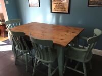 Rustic Dining Table and Chairs with Bench - great for family dining and homework!