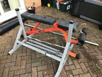 Olympic bench, bar, curl bar, tree and weight bundle new condition MUST GO