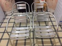 Very Light 4 White Aluminium Garden Chairs or Coffee Chairs in Very Good Condition for Sale,