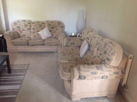 2x 3 seater fabric sofas