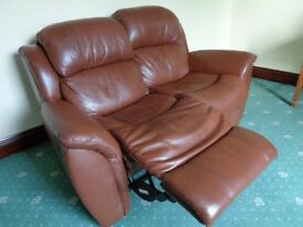 Brown Leather Manual Recliner 2 Seater Sofa.