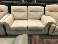 2 x Beige fabric 2 seater sofas