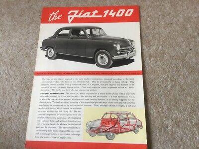 FIAT 1400 Car Sales Specification Leaflet c1951 #1079