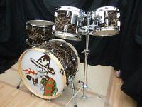 Richmo (Alan Gilby) UK custom made birch drum kit, giraffe print wrap