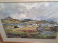 Large pine framed water color of scene in Donegal