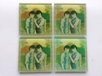 Decorative glass coasters x 4