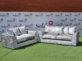 BRAND NEW 3 & 2 SEATER SILVER CRUSHED VELVET SOFA'S + FREE DELIVERY FOR £279.99