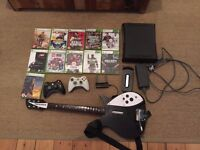 Xbox 360 Elite 120GB + 2 wireless controllers + Rock Band Guitar + wifi adaptor + 11 games