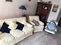 House Clearance Cream Cloth Settee Chair and matching swivel chair