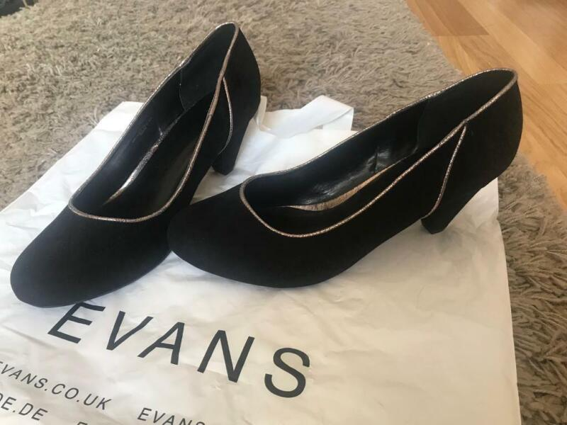 Black/silver Evans shoes, Size 10 wide fit Never worn for sale  Pontefract, West Yorkshire