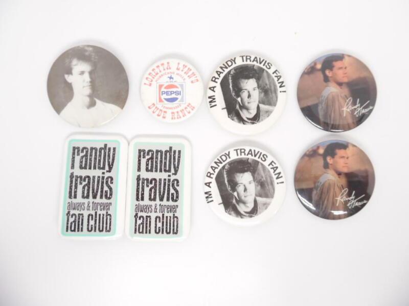 Official Vintage Randy Travis Collectible Fan Club Pins + Bonus Loretta Lynn Pin