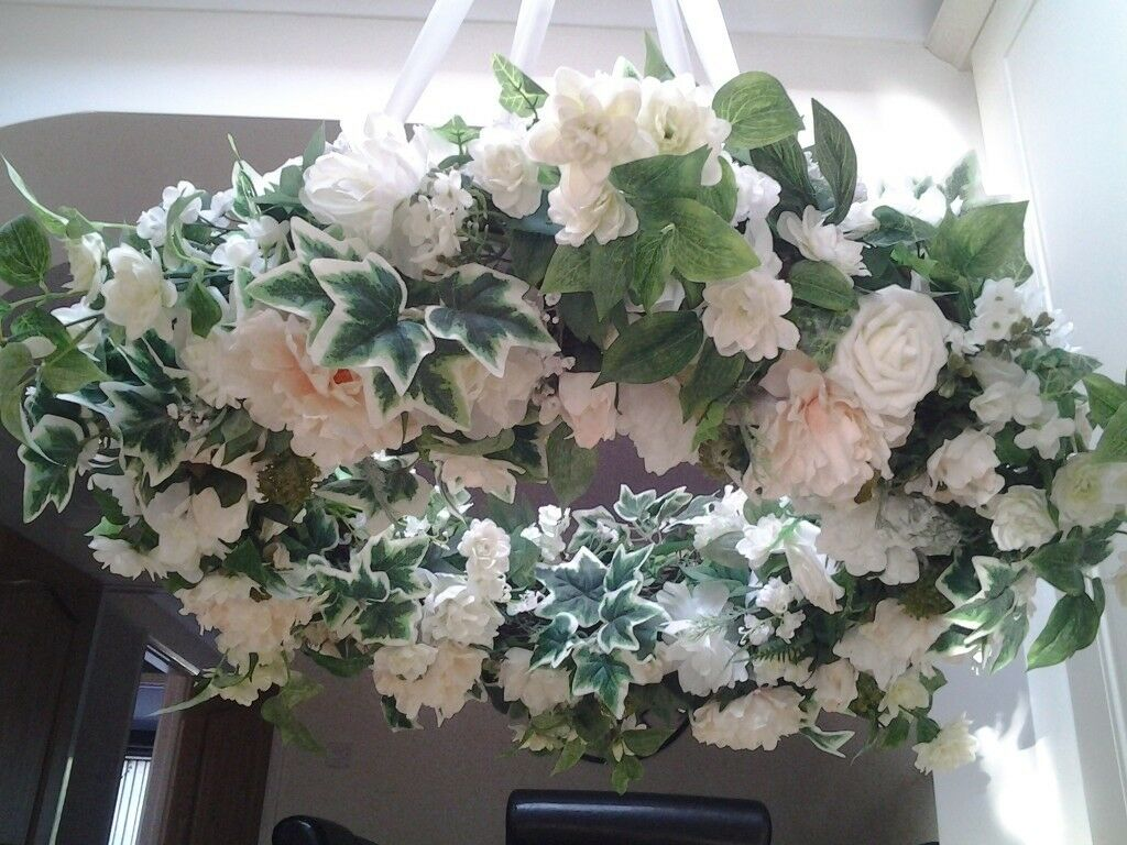 Stunning Floral Hoop Decorated With Ivory Cream And White Silk