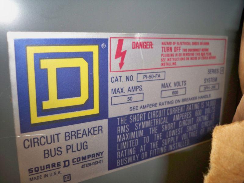 Sq D Pi-50-fa 50a 3ph 3w 600v Circuit Breaker Busplug New Surplus
