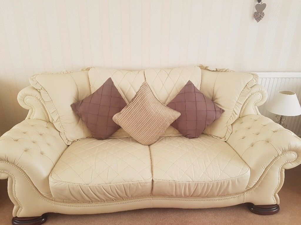 Cream Leather Sofas 3 Seater 2 And Chairs Available