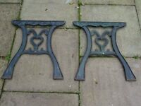pair of cast iron table ends / bench ends