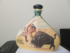 Pottery Flask Depicting Native American Scene