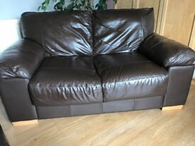 3 & 2 seater r brown leather sofas. Good condition. Smoke free home. Buyer to collect.