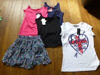 5 brand new with labels t shirts ( 2 next) and one floaty brand new skirt all size 10