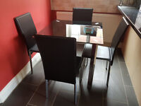 Black Glass Table & 4 x Chairs