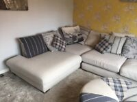 Grey Corner Sofa and Stool