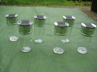6 Chrome Top Glass Spice/Herb Jars