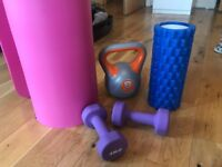 Yoga mat, foam roller and weights for cheap