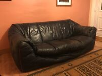 Navy Blue Leather Sofa - FREE TO A GOOD HOME