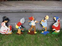"""Nursery vintage handpainted 9""""tall wooden fairytale figurines"""