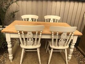 Laura Ashley painted oak Farmhouse table and chairs