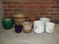 Various flower pots and planters, indoor and outdoor, terracotta, plain and floral