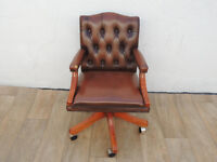Brown leather captains chair with arms (Delivery)