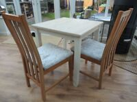 Refurbished Small Dining Table and 2 crushed velvet upholstered Chairs