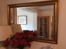 Large gold gilt edged mirror - bevelled glass - 106x76cm - excellent condition - only £40.00