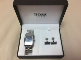 MENS HUGO BOSS SILVER WATCH WITH MATCHING CUFF LINKS IN BOX EXCELLENT CONDITION