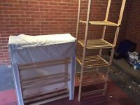 Two wooden canvas wardrobes