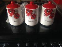 Brand new never used tea coffee sugar jars